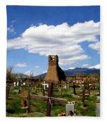 Taos Pueblo Cemetery Fleece Blanket