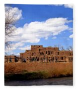 Taos Pueblo Early Spring Fleece Blanket