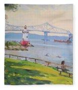 Tappan Zee Bridge And Light House Fleece Blanket