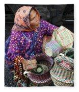 Tarahumara Basket Vendor Fleece Blanket