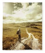 Tasmanian Man On Road In Nature Reserve Fleece Blanket