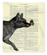 Tasmanian Tiger And Orange Butterfly Antique Illustration On Dictionary Page Fleece Blanket