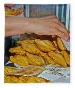 Tasty Hot Empanadas For Lunch In Angelmo Fish Market In Puerto Montt-chile Fleece Blanket