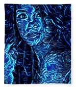 Tatto Lady With The Blues Fleece Blanket