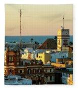 Tavira Tower And Post Office From West Tower Cadiz Spain Fleece Blanket