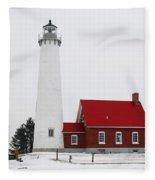 Tawas Point Lighthouse 2 Fleece Blanket