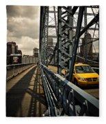 Taxi Crossing Smithfield Street Bridge Pittsburgh Pennsylvania Fleece Blanket