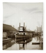 T.c. Walker Paddle Riverboat City Of Stockton Riverboat And Kath Fleece Blanket