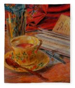 Tea And Diary Fleece Blanket
