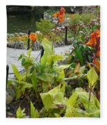 Tea Garden At San Antonio Zoo Crosswalk Fleece Blanket