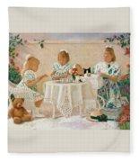 Tea In The Rose Garden Fleece Blanket