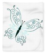 Teal Butterfly Fleece Blanket