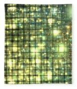 Teal Gold Cubes Fleece Blanket