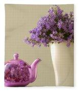 Teapot And Flowers In A Vase Fleece Blanket