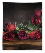 Teapot Roses Fleece Blanket