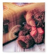 Teddy Bear And Suitcase Fleece Blanket