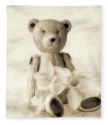 Teddy With Daffodils - Toned Fleece Blanket