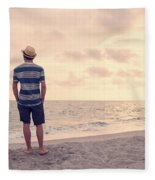Teen Boy On Beach Fleece Blanket