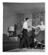 Teen Couple Dancing At Home, C.1950s Fleece Blanket