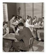Teens At A Diner, C. 1950s Fleece Blanket