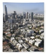 Tel Aviv And Ramat Gan Israel Fleece Blanket