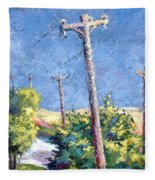 Telephone Poles Before The Rain Fleece Blanket