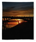 Tempe Bridge Sunset  Fleece Blanket