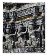 Temple Detail In Bangkok Thialand Fleece Blanket