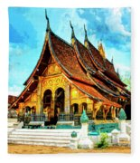 Temple In Laos Fleece Blanket