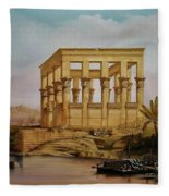 Temple Of Isis On The Nile River Fleece Blanket