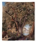 Temples And Burial Ground Near Poona Fleece Blanket