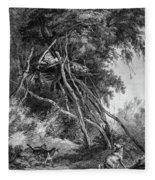 Temporary Tree Dwelling Fleece Blanket