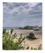 Tenby Pembrokeshire Low Tide Fleece Blanket