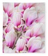 Tender Magnolia Flowers Fleece Blanket