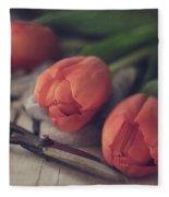 Tending The Tulips Fleece Blanket