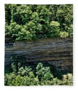 Tennessee River Gorge And Waterfall Panorama Fleece Blanket