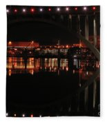 Tennessee River In Lights Fleece Blanket