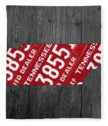Tennessee State License Plate Map Fleece Blanket