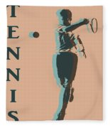 Tennis Player Pop Art Poster Fleece Blanket