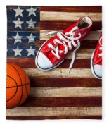 Tennis Shoes And Basketball On Flag Fleece Blanket