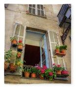Terra Cotta Pots Outside Window In Old Town Nice, France Fleece Blanket