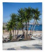 Terrace Promenade At Ribeira Beach In Cascais Fleece Blanket