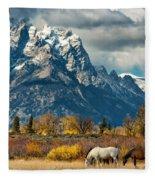 Teton Horses Fleece Blanket