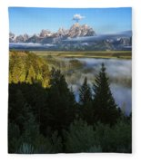 Teton Morning Snake River Overlook Fleece Blanket