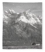 Teton Range Charcoal Sketch Fleece Blanket