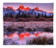 Teton Reflections In The Frosted Willows Fleece Blanket