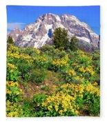 Teton Spring In The Valley Fleece Blanket