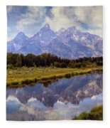 Tetons At The Landing 1 Fleece Blanket