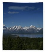 Tetons In Blue Fleece Blanket