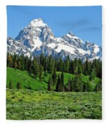 Tetons In Spring Fleece Blanket